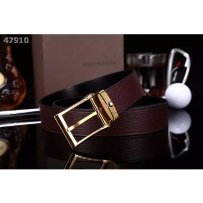 Imitation Montblanc Reversible Litchi Leather Strap Logo Embossed Single Tongue Squared Pin Buckle Mens Belt