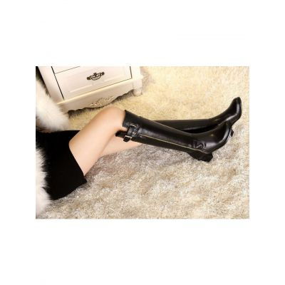 Most Fashion Hermes Buckle Trimming Ladies Calfskin Leather Available Zipper Knee-High High-heeled Riding Boots Black