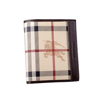 Cheapest Burberry Haymarket Check Womens Bifold Wallet Black Leather 6 Cards Slots