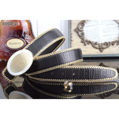 Versace Classic Oval Medusa 2-tone Pin Buckle Croco Embossed Leather Strap With Whip Stitch Mens Belt