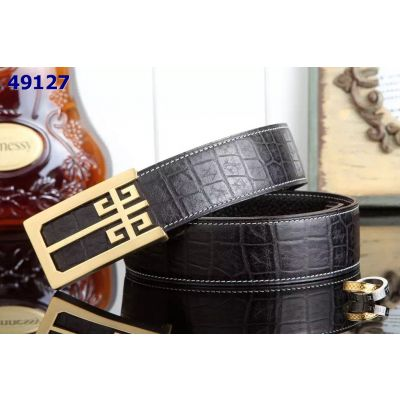 Givenchy Mens 38mm Black Reversibl Business Belt With Logo Pin Buckle Shark/Croco Embossed Leather