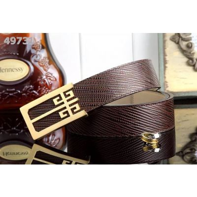 AAA Quality Givenchy Weave Design 38MM Black/Coffee Leather Mens Belt Logo Embossed Pin Buckle