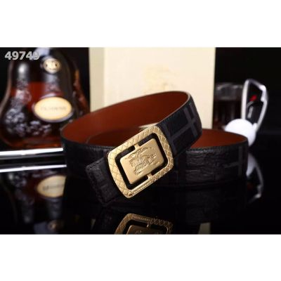 Low Price Burberry Black Leather Check Strap Gold/Silver Logo Pin Buckle Fashion Clone Mens Belt