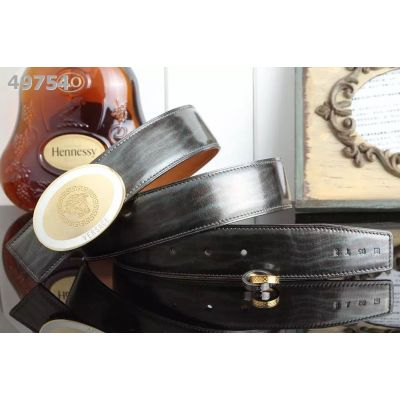 Versace Chic Medusa Motif Oval 2-tone Pin Buckle Mens Patent Leather Business Belt 38mm USA