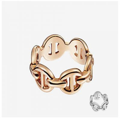 Hermes Chaine d'Ancre Enchainee Farandole Pig Nose Hollw Ring Silver/ Rose Gold Christmas Gift Women H110025B 00046/H109507B 00046
