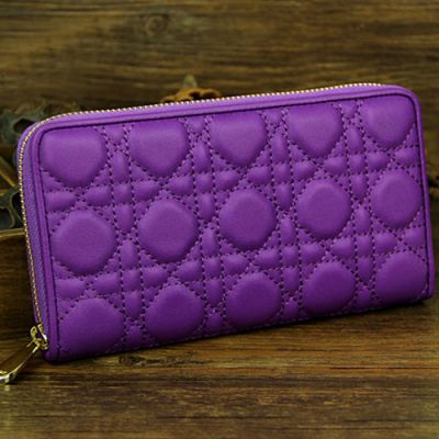 Fake Lady Dior Sheepskin Leather Cannage Quilted Zip-around Wallet Purple For Sale UK Replica