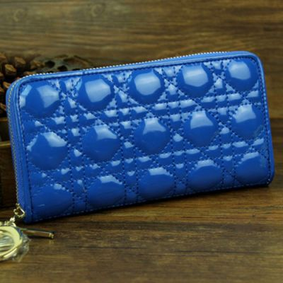 Dior Sapphire Blue Long Lady Dior Cannage Zipper Wallet Patent Leather Golden Hardware