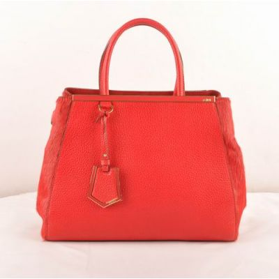 Top Sale Fendi 2Jours Arrow-Shaped Charm Red Grained Leather Fake Female Totes Developable Horsehair Gusset