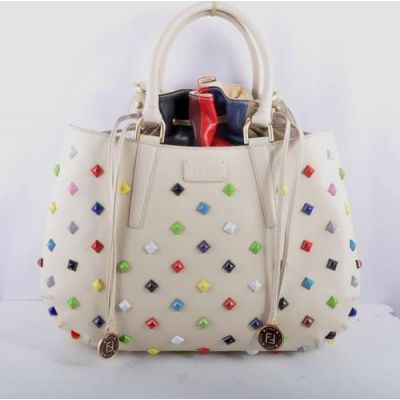 Large White Fendi B Fab Womens Top Handle Belt Leather Shoulder Bag With Colorful Square Studs