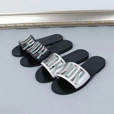 Celebrity Same Christian Dior Multicolor DIOR Logo Trimming High Quality Calfskin Leather Female Slippers