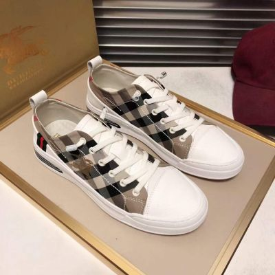 Men's Best Quality Burberry White Calfskin Leather Logo Pattern Canvas Check Lace-up Sneakers Sale Online Replica