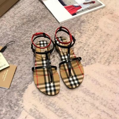 High Quality Burberry Red & Black Patent Leather Vintage Check Slides Ladies Flat T-bar Sandals Online