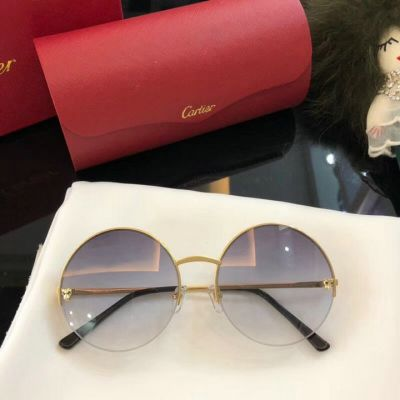 Top Sale Panthère de Cartier Golden Frame Fashion Panther Head Trimming Round Sunglasses For Womens