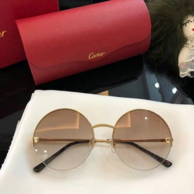 Women's Fashion Collection Panthere de Cartier Semi-rimless Frame Sunglasses Amber For Sale Online
