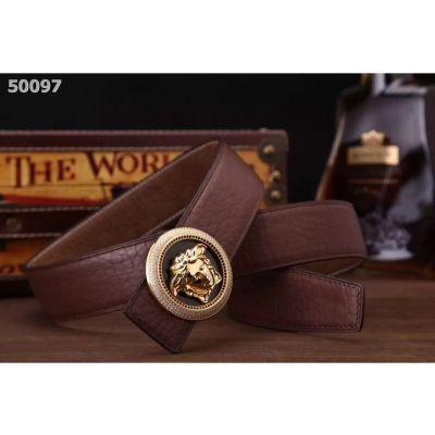 Hot Selling Versace Round 3D Medusa Pin Buckle Mens Litchi Leather Clone Reversible Belt Black/Brown