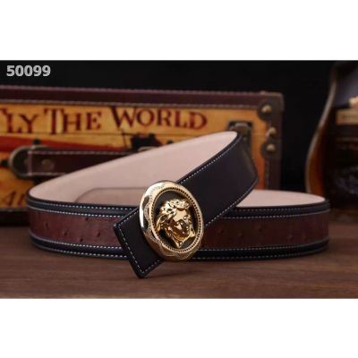 Fashion Versace Round 3D Medusa Diamonds Pin Buckle Mens Cowhide Leather & Ostrich Leather Patchwork Belt