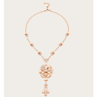 Bvlgari Divas' Dream Tassel Necklace Skirt Pendant With Diamonds Copy White/Rose Gold-plated Online Canada Lady 348361 CL856457