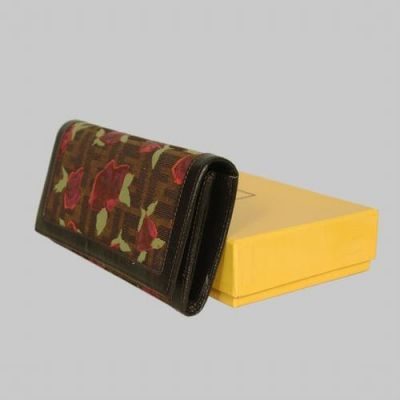 Hot Selling Fendi Coffee Leather With Rose Print Many Card Slots Ladies Long Flap Wallet Replica