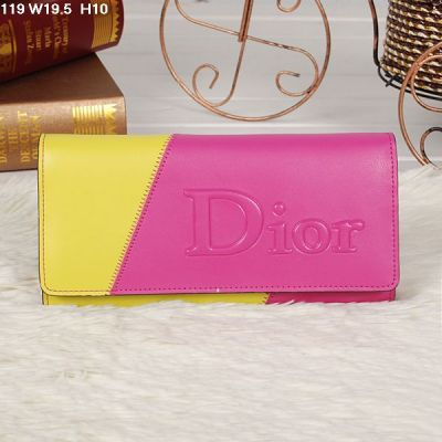 Dior 2017 New Double Color Ladies Long Flap Wallet Yellow & Peach Replica