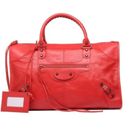 AAA Women's Balenciaga Golden Small Studs Leather Trimming Slim Handle Ladies 46CM Work Totes Coquelicot
