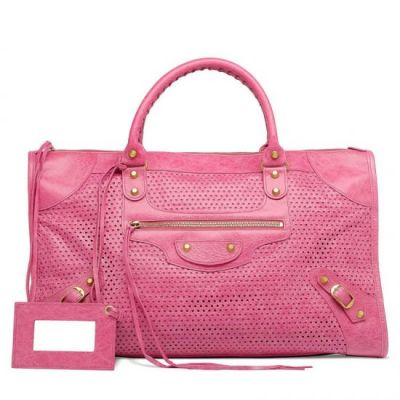 Women's Balenciaga Brass Studs Flat Top Pink Leather Perforated Work Shoulder Bag In Paris