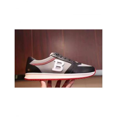 """Bally """"B"""" Trimming Mens Gray & Black Calfskin Leather Patchwork Lace-up Astreo Sneaker With Rubber Outsole Online"""