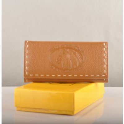 Good Price Fendi Horse Pattern Hand Stitching Edge Ladies Long Flap Earth Yellow Leather Wallet