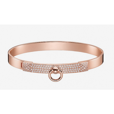 Hermes Collier de Chien Bangle With Crystals Decoration White/Rose/yellow Gold-plated Celebrity Style Sale Dubai H110017B 00SH