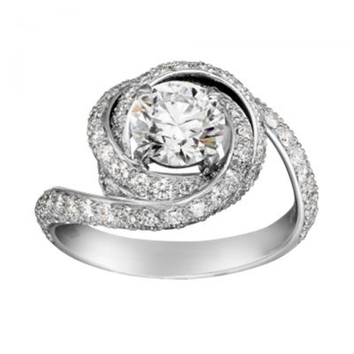 Cartier Trinity Ruban Diamonds Ring Replica CRN4250400 Sterling Silver With Two Sub Rings