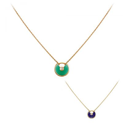 Amulette de Cartier Green Blue Enamel Diamond Necklace B3153108 B7224520 Replica