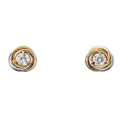 Trinity de Cartier Earrings B8045300 White/Pink/Yellow Gold Plated Diamond Replica Simple Hot Sell