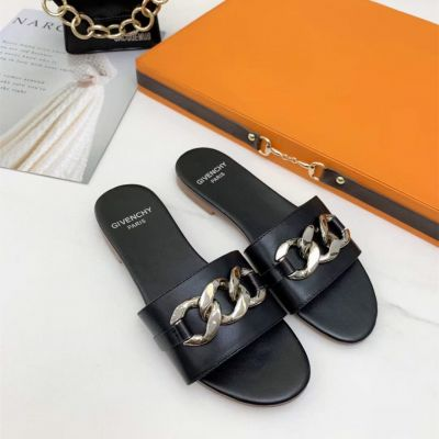 Summer Fashion Givenchy Silver Chain Detail White Cow Leather Flat Sandals For Ladies