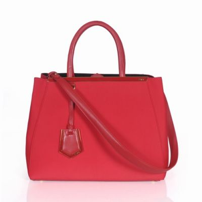 Popular Red Fendi Arrow-Shaped Pandent Ladies 2Jours Canvas Clone Handbag Smooth Leather Top Handle Online
