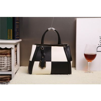 Latest Fendi 2Jours Black-White Calfskin Leather Patchwork Totes Arrow-shaped Trimming Trapeze Bag Colorful For Girls