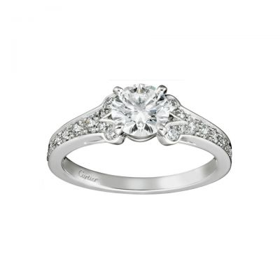 Cartier Ballerine Solitaire Diamonds Ring N4196900 Sterling Silver Version Low Price Sale
