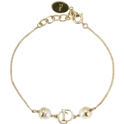 Mise En Dior Yellow Gold-plated Chain Bracelet With Logo & Peal Charm Datting Gift Lady Online Shop