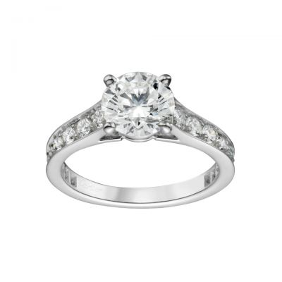 Cartier Solitaire 1895 Ring Replica N4164600 Sterling Silver Diamonds Wedding Engagement Band