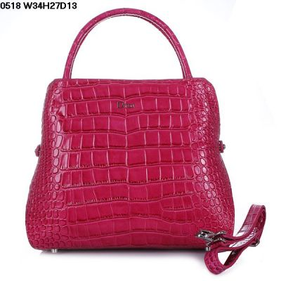 Best Top Handle Womens Dior A-shape Peach Crocodile Leather Crossbody Bag Protective Base Buttons