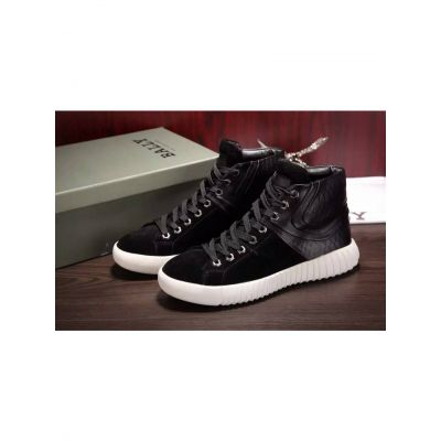 Spring Bally Black Calfskin Leather & Suede Leather Patchwork High-Top Sneaker For Mens Online