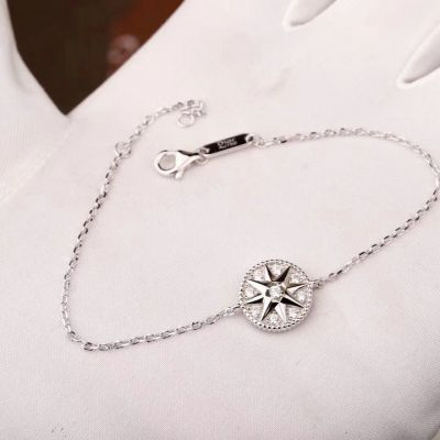 Wholesale Christian Dior Rose Des Vents White Gold-plated Chain Bracelet Crystals Eight Pointed Star Pendant JRDV95031_0000