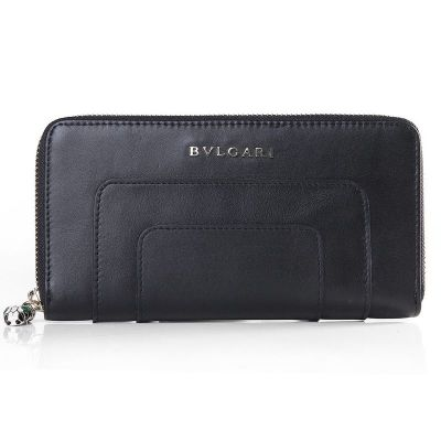 Women's Bvlgari Zipper Wallet Serpenti Fashion Guttiform Gemmy Puller Calfskin Leather Black