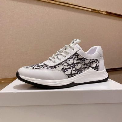 2021 Spring Popular Dior Logo Oblique Galaxy Printing Male White Calfskin Leather Lace-up Fake Sneakers