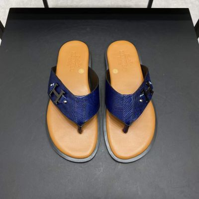 Hermes Low Price Sapphire Grain Cow Leather Silver H Buckle Summer Fashion Male Flip Flop