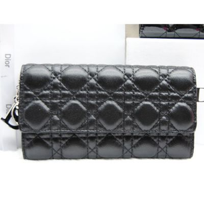 """Dior """"Lay Dior"""" Black Timeless Pieces Sheepskin Leather Cannage Quilted Long Wallet Tri-fold"""