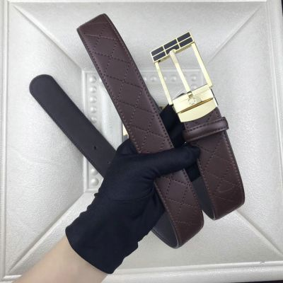 Men's High Quality Montblanc Two-tone Curved Buckle Quilted Leather Business Belt Black/Brown Replica
