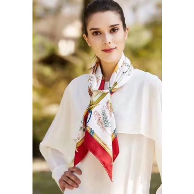 Spring/Fall Hot Selling Hermes Plume Silk Twill Flowers Pattern Ladies Shawl Price HK Red