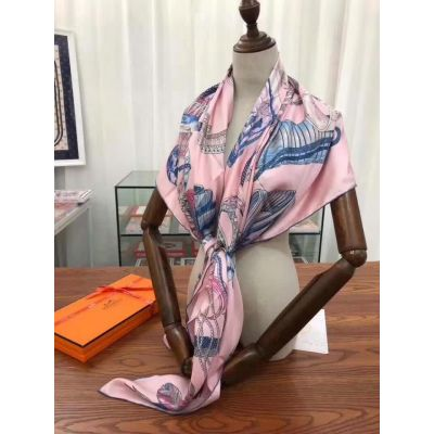 Spring High End Hermes Ladies Printing Plume Silk Twill Giant Scarf Pink 140 cm