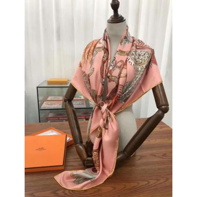 Latest Style Hermes Peach Silk Twill Duplex Printing Square Shawl For Womens Price UK