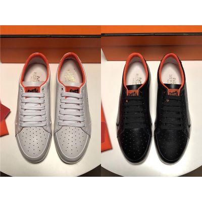Classic Style Hermes Logo Pattern & Orange Details Mens Perforated Toe Spring Sneakers Black/White