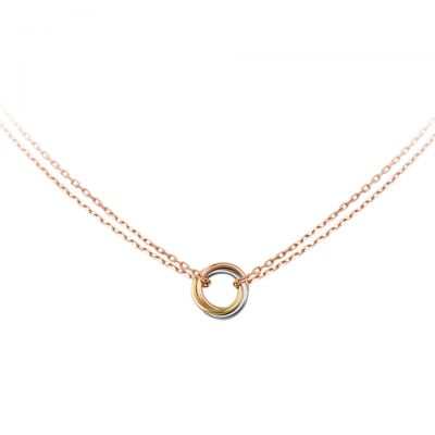 Trinity de Cartier Pendant Necklace Replacement B7218200 White Pink Yellow Gold Plated With Chain
